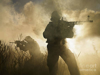 U.s. Navy Seals During A Combat Scene Poster by Tom Weber