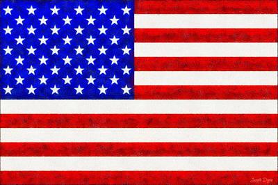 Usa Flag  - Fine Wax Style -  - Pa Poster by Leonardo Digenio
