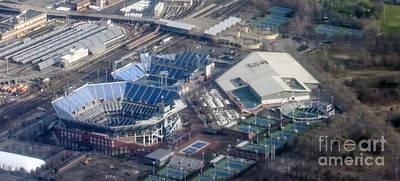 Usta Billie Jean King National Tennis Center And Arthur Ashe Stadium Aerial Photo Poster by David Oppenheimer