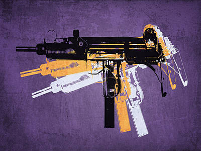 Uzi Sub Machine Gun On Purple Poster by Michael Tompsett