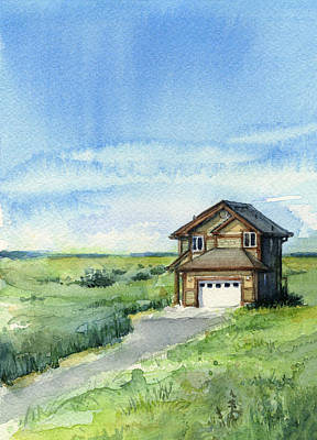 Vacation House In A Field - Watercolor - Long Beach, Wa Poster by Olga Shvartsur