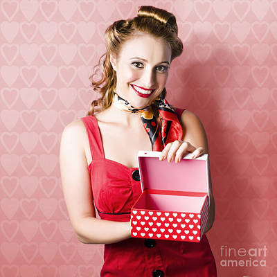 Valentine Day Woman With Red Heart Gift From Lover Poster by Jorgo Photography - Wall Art Gallery