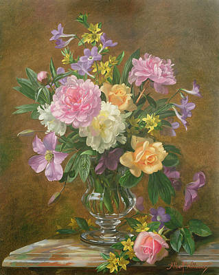 Vase Of Flowers Poster by Albert Williams