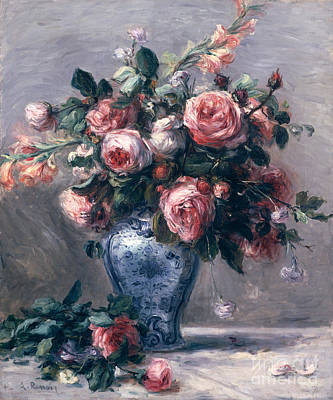 Vase Of Roses Poster by Pierre Auguste Renoir