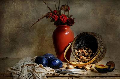 Vase With Basket Of Walnuts Poster by Diana Angstadt