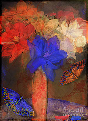 Vase With Magnolias Poster by Mindy Sommers