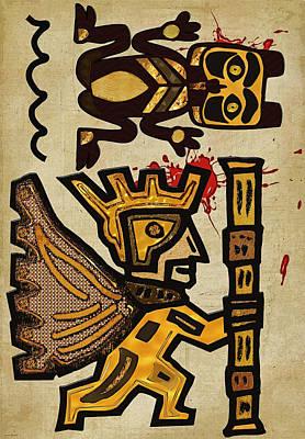 Vemana K'i'ik Mayan Sacrifice Folk Art Poster by Sharon and Renee Lozen