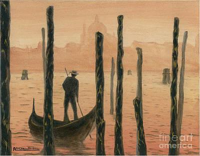 Venetian Gondolier In The Sunset Poster by Italian Art