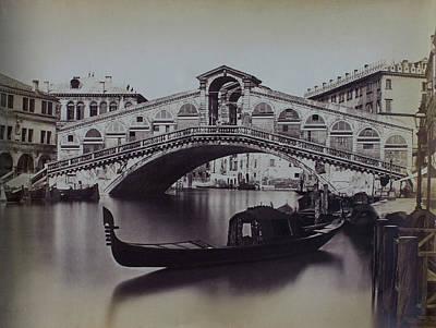 Venice #1 Antique Photo C1880 Grand Canal, Rialto Bridge And Gondola Poster by Floralia Gallery