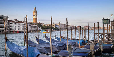 Venice Grand Canal And Goldolas Panoramic View Poster by Melanie Viola