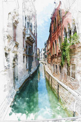 Venice Canal Poster by Diana Van