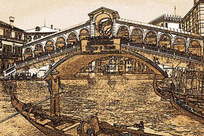Venice Rialto Bridge - Vintage Poster by Art America Online Gallery