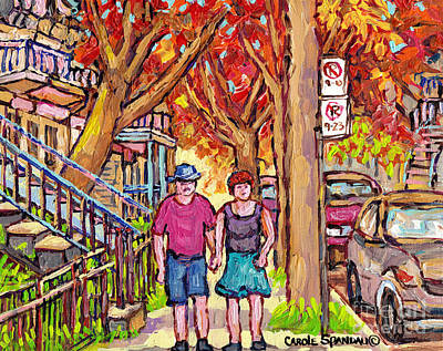 Verdun Street Early Autumn Treescape Painting Couple Strolls Montreal Quebec Art Carole Spandau Poster by Carole Spandau