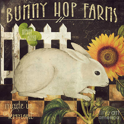 Vermont Farms Bunny Rabbit Poster by Mindy Sommers