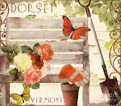 Vermont Summer Park Bench Poster by Mindy Sommers