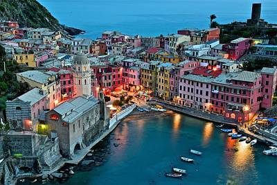 Vernazza After Sundown Poster by Frozen in Time Fine Art Photography