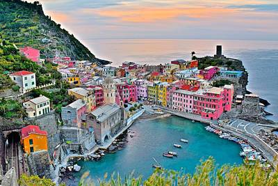 Vernazza At Daybreak Poster by Frozen in Time Fine Art Photography