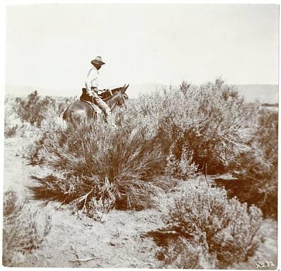 Vernon Orlando Bailey On Horseback In Rabbit Hole Basin Poster by MotionAge Designs
