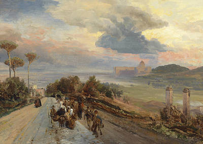 Via Cassia In Rome Poster by Oswald Achenbach
