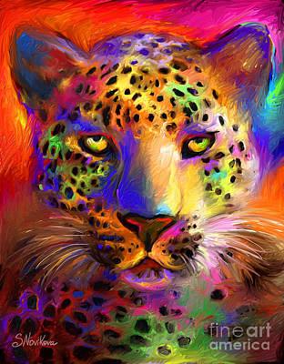 Vibrant Leopard Painting Poster by Svetlana Novikova