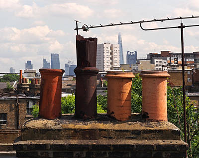 Victorian London Chimney Pots Poster by Rona Black