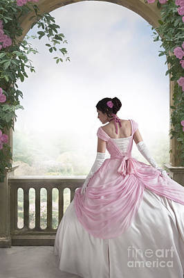 Victorian Woman In A Pink Ball Gown Beneath A Rose Arch Poster by Lee Avison