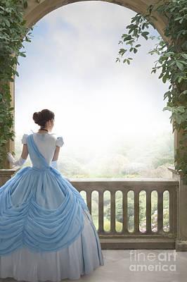 Victorian Woman In A Powder Blue Ball Dress Overlooking The Gard Poster by Lee Avison
