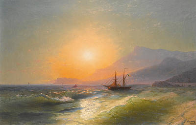 View From Cap Martin With Monaco In The Distance Poster by Ivan Konstantinovich Aivazovsky