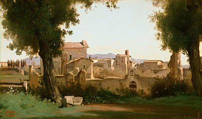 View From The Farnese Gardens, Rome Poster by Jean-Baptiste-Camille Corot