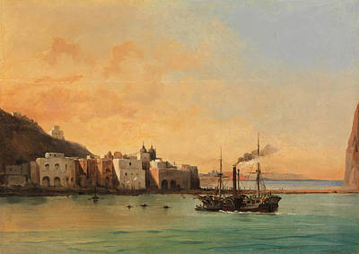 View Of Ischia From The Sea Poster by Charles Remond