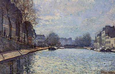 View Of The Canal Saint-martin Paris Poster by Alfred Sisley