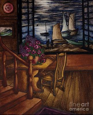 View Of The Moon And The Sea Poster by Evelyn Sichrovsky