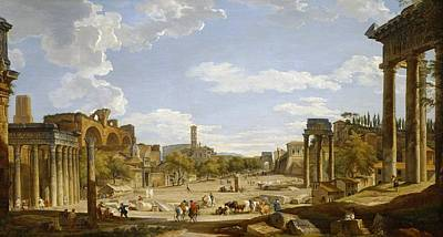 View Of The Roman Forum Poster by Giovanni Paolo Panini