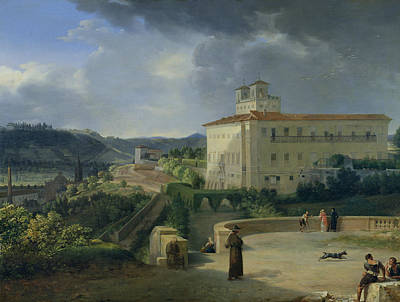 View Of The Villa Medici In Rome Poster by Nicolas Antoine Taunay