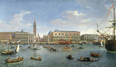 View Of Venice From The Island Of San Giorgio Poster by Gaspar van Wittel