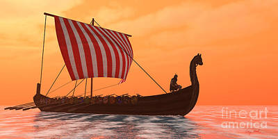Viking Longship Ventures Poster by Corey Ford
