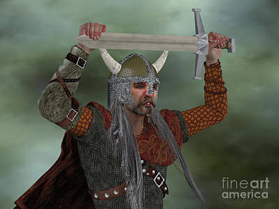 Viking Man With Sword Poster by Corey Ford