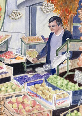 Village Grocer Poster by Marsha Elliott