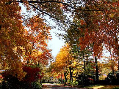 Village Street In Autumn Poster by Susan Savad