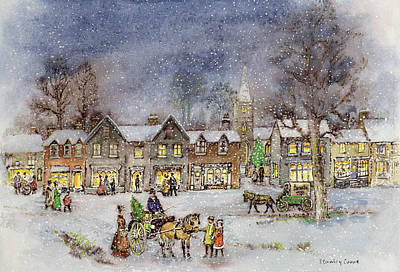 Village Street In The Snow Poster by Stanley Cooke