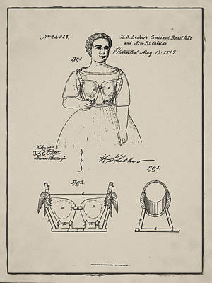 Vintage 1859 Brassiere Patent In Sepia Poster by Bill Cannon