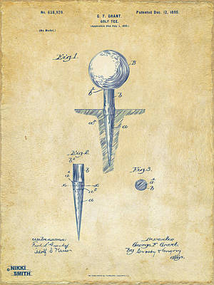 Vintage 1899 Golf Tee Patent Artwork Poster by Nikki Marie Smith