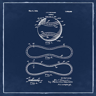 Vintage 1928 Baseball Patent Blue Poster by Bill Cannon