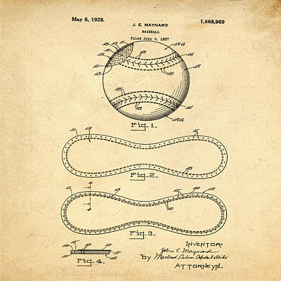 Vintage 1928 Baseball Patent In Sepia Poster by Bill Cannon