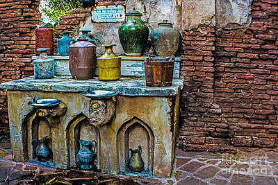 Vintage Antique Water Containers 2 Poster by Gary Keesler