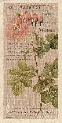 Vintage Burlap Floral 4 Poster by Debbie DeWitt