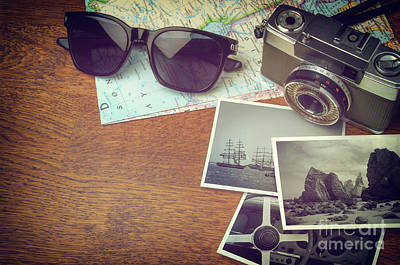 Vintage Camera And Map Poster by Carlos Caetano