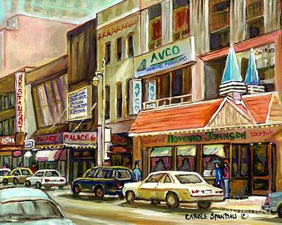 Vintage Canadian Scenes Original Art Downtown Montreal Paintings For Sale Howard Johnson's Resto  Poster by Carole Spandau
