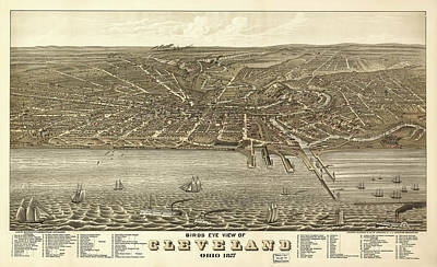 Vintage Cleveland Ohio Map Poster by Mountain Dreams