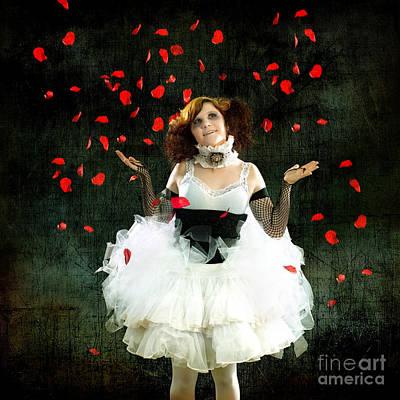 Vintage Dancer Series Raining Rose Petals  Poster by Cindy Singleton